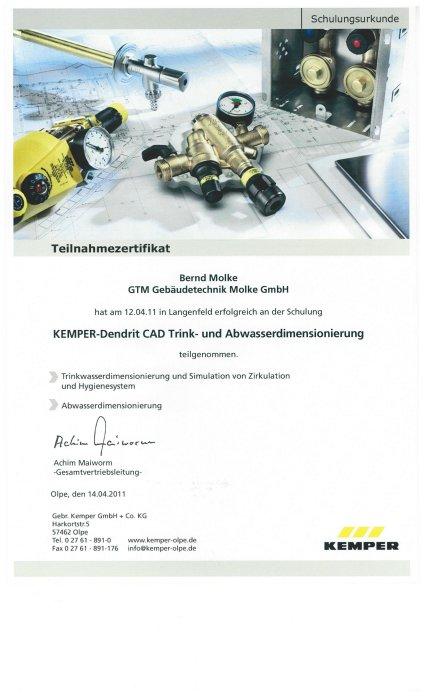 Schulungsbescheinigung Gebäudetechnik Molke GmbH