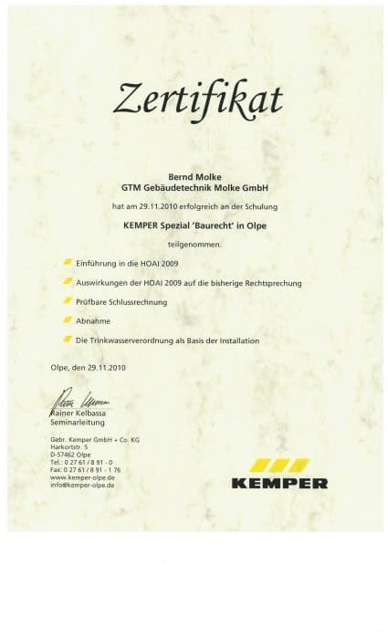 Zertifikat Gebäudetechnik Molke GmbH