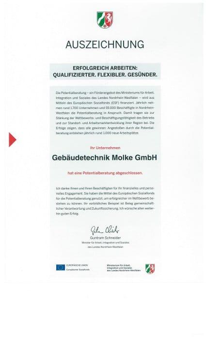 Auszeichnung Gebäudetechnik Molke GmbH