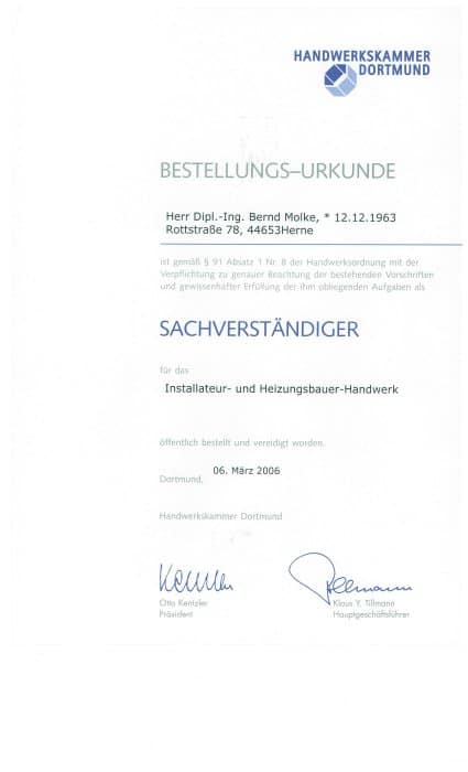 Urkunde Gebäudetechnik Molke GmbH
