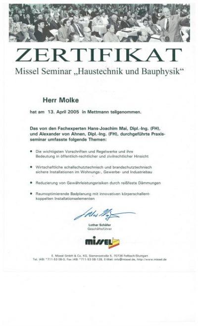 Zertifikat von Herrn Molke von GTM aus Herne